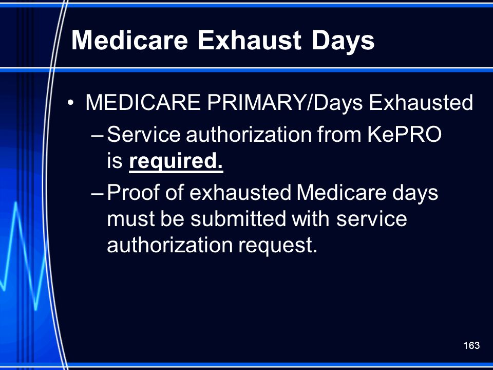 Medicare Exhaust Days MEDICARE PRIMARY/Days Exhausted
