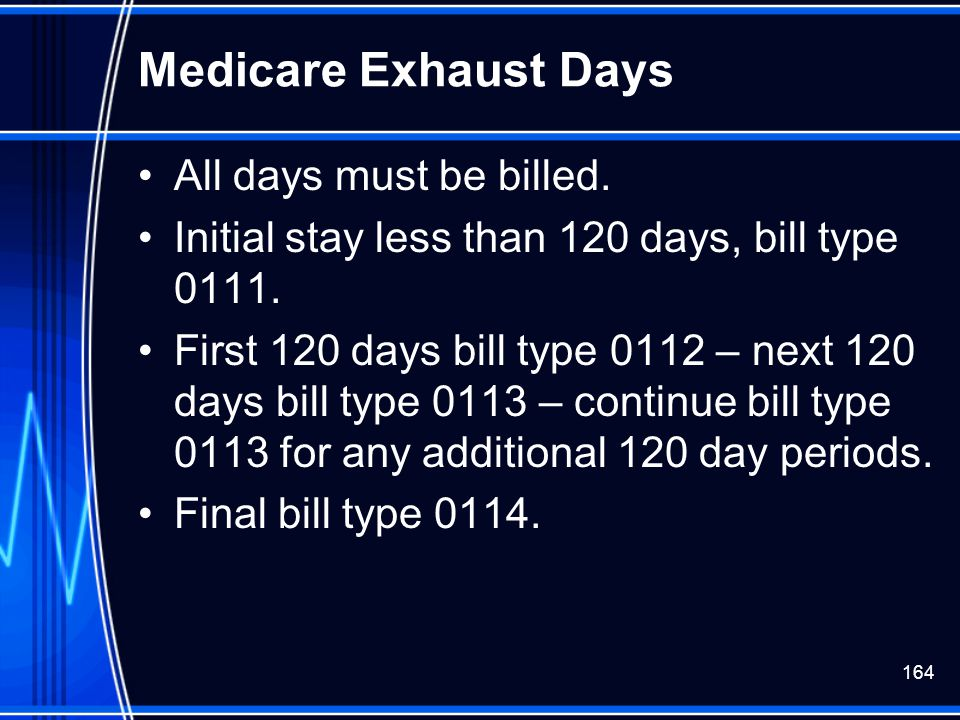 Medicare Exhaust Days All days must be billed.