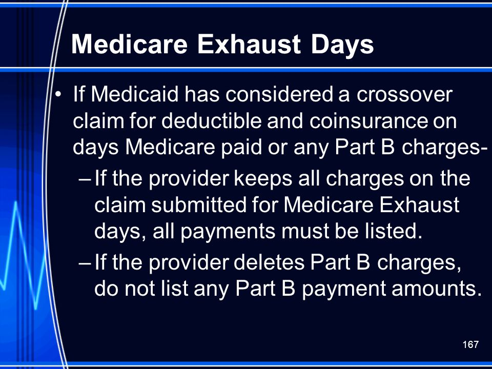 Medicare Exhaust Days If Medicaid has considered a crossover claim for deductible and coinsurance on days Medicare paid or any Part B charges-