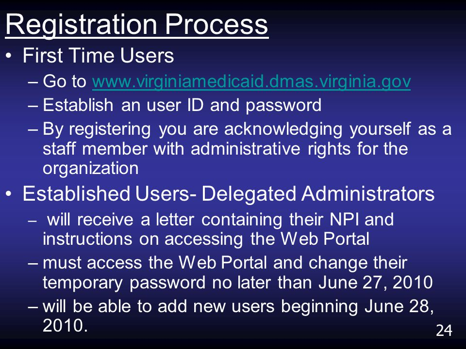 Registration Process First Time Users
