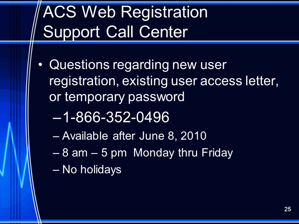 ACS Web Registration Support Call Center