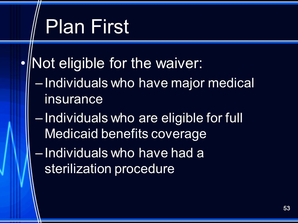 Plan First Not eligible for the waiver: