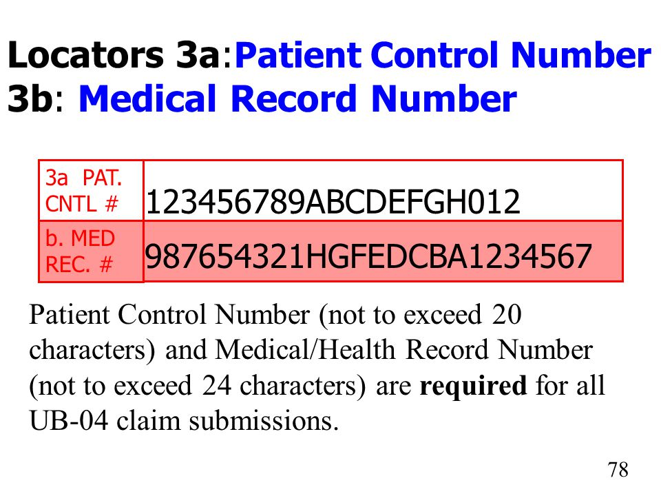 Locators 3a:Patient Control Number 3b: Medical Record Number