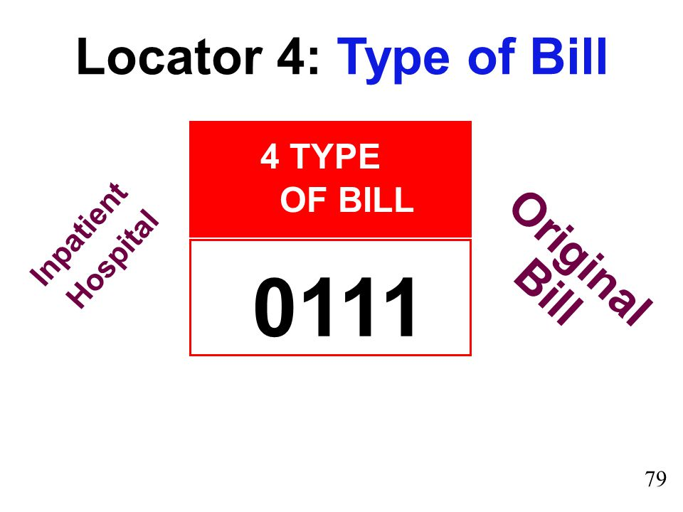 0111 Locator 4: Type of Bill Original Bill 4 TYPE OF BILL Inpatient