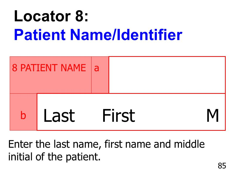 Last First M Locator 8: Patient Name/Identifier b