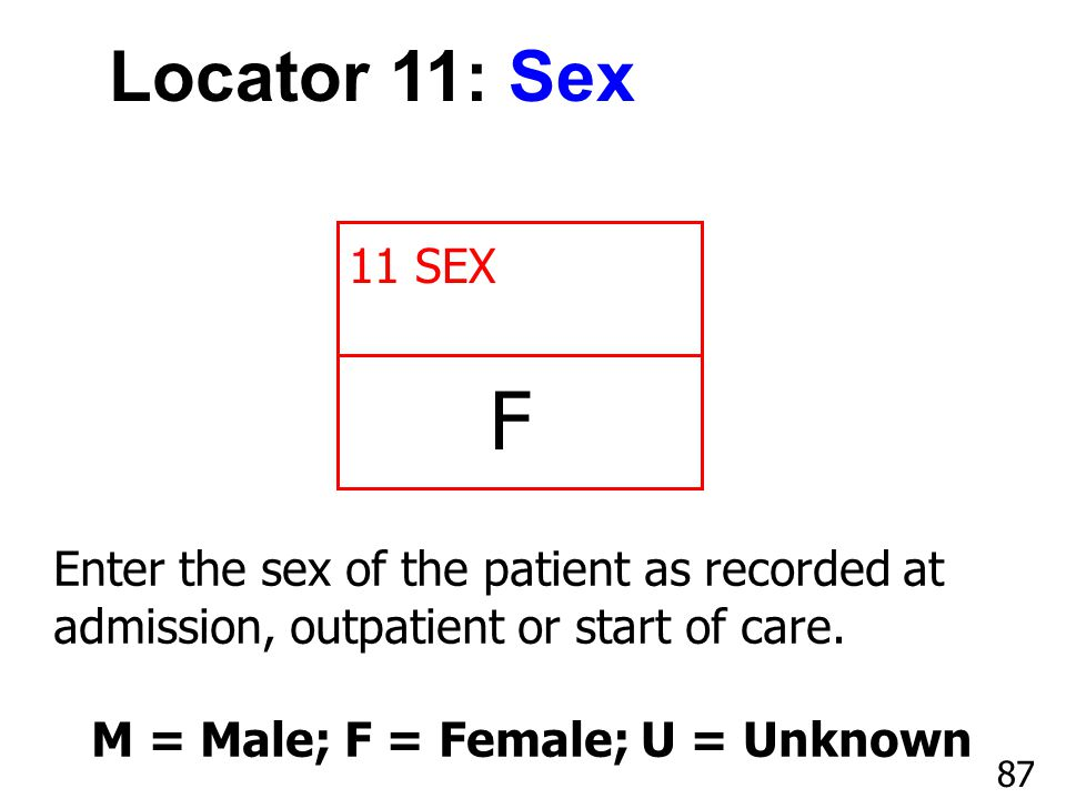 M = Male; F = Female; U = Unknown