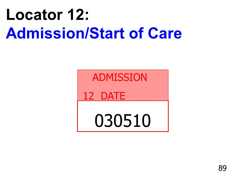 Locator 12: Admission/Start of Care ADMISSION 12 DATE 030510 89