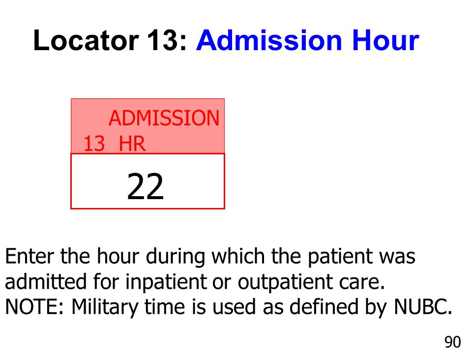22 Locator 13: Admission Hour ADMISSION 13 HR