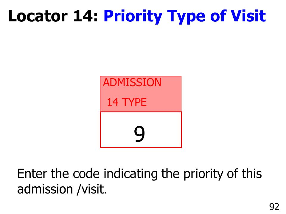 9 Locator 14: Priority Type of Visit