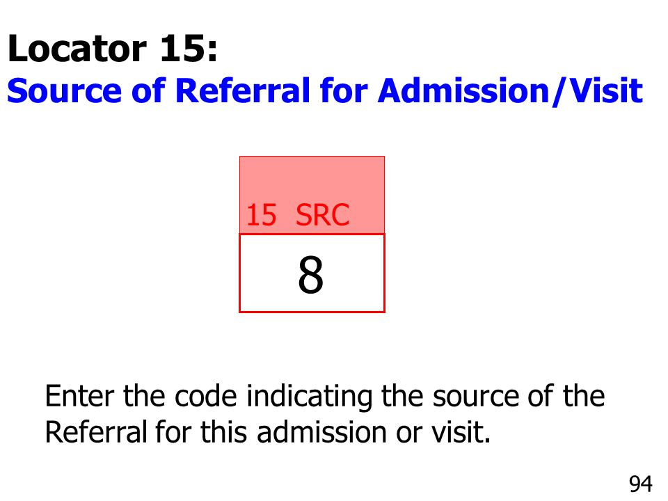 8 Locator 15: Source of Referral for Admission/Visit 15 SRC