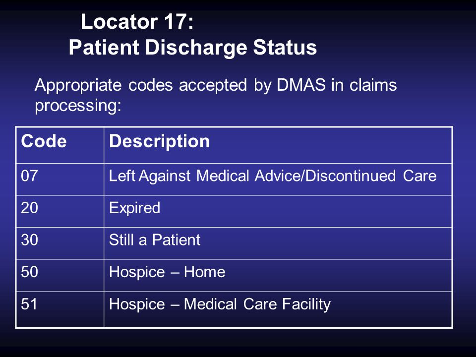 Locator 17: Patient Discharge Status