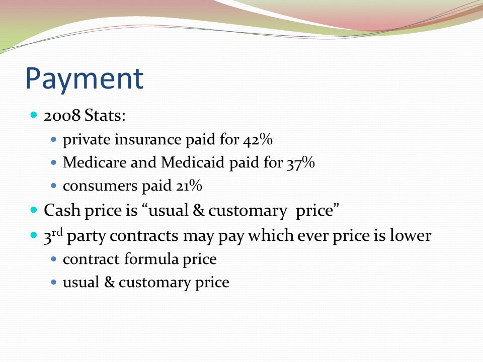 Payment 2008 Stats: Cash price is usual & customary price