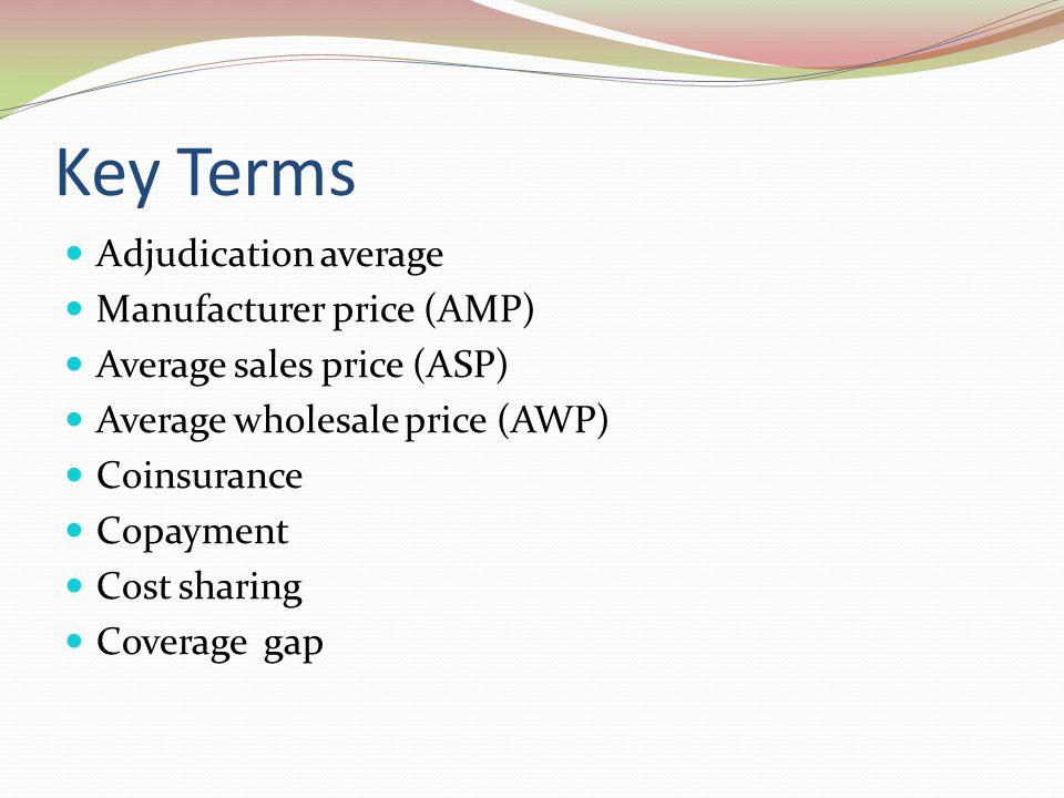 Key Terms Adjudication average Manufacturer price (AMP)