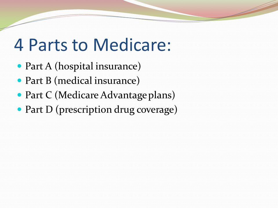 4 Parts to Medicare: Part A (hospital insurance)