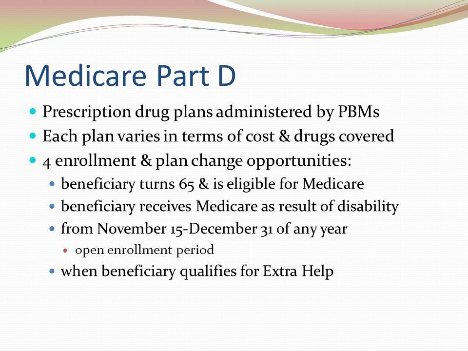 Medicare Part D Prescription drug plans administered by PBMs