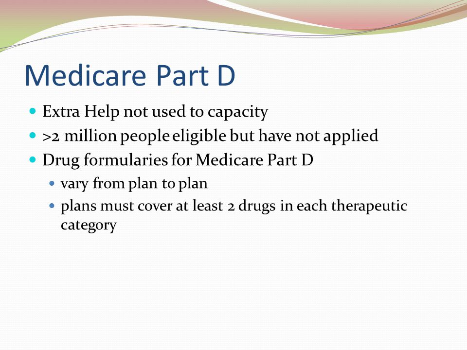 Medicare Part D Extra Help not used to capacity