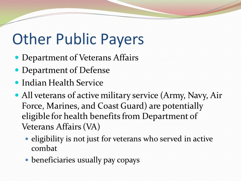 Other Public Payers Department of Veterans Affairs