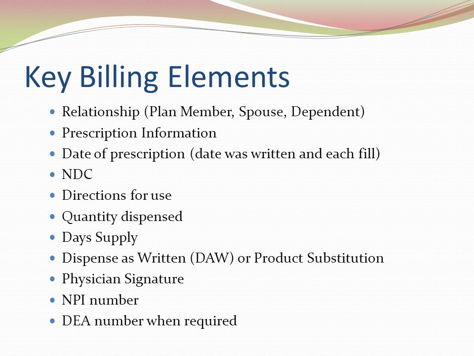 Key Billing Elements Relationship (Plan Member, Spouse, Dependent)