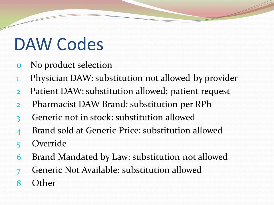 DAW Codes 0 No product selection