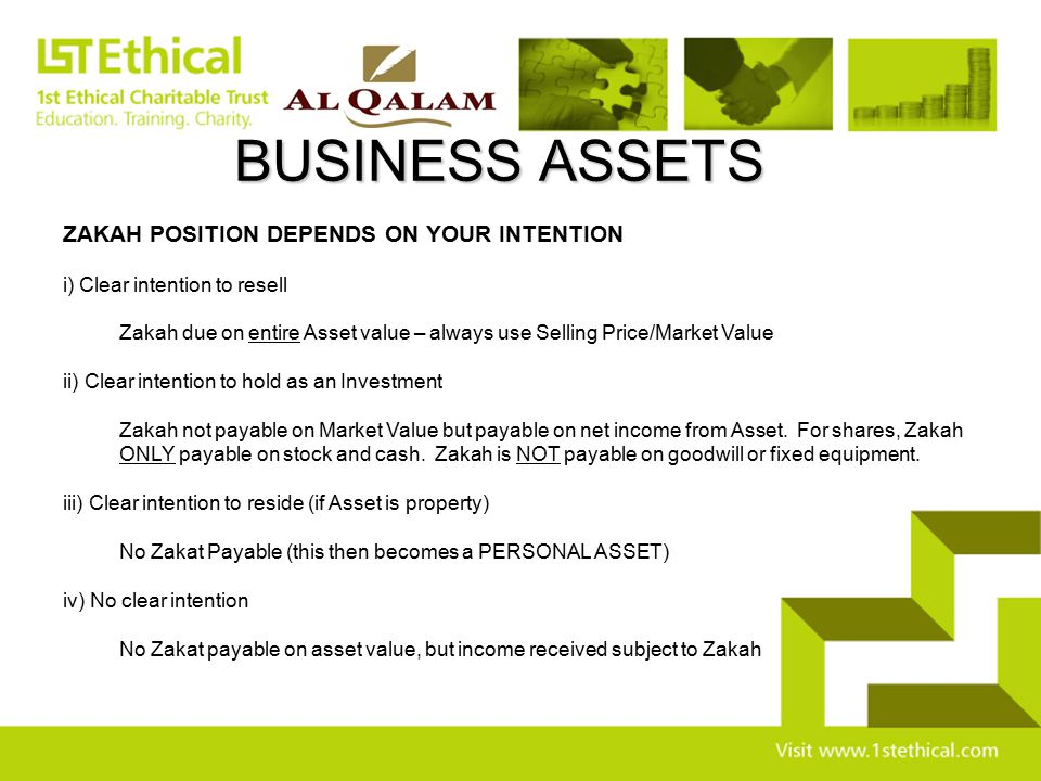 BUSINESS ASSETS ZAKAH POSITION DEPENDS ON YOUR INTENTION