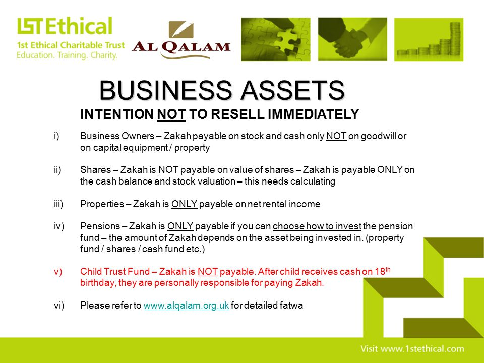 BUSINESS ASSETS INTENTION NOT TO RESELL IMMEDIATELY
