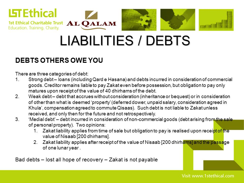 LIABILITIES / DEBTS DEBTS OTHERS OWE YOU