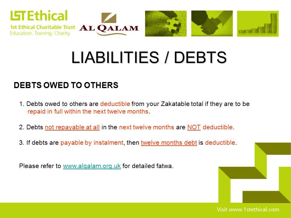 LIABILITIES / DEBTS DEBTS OWED TO OTHERS