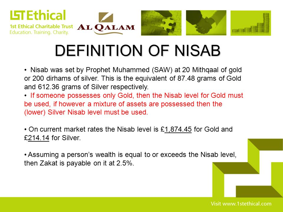DEFINITION OF NISAB