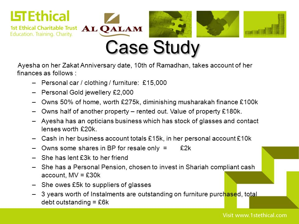 Case Study Ayesha on her Zakat Anniversary date, 10th of Ramadhan, takes account of her finances as follows :