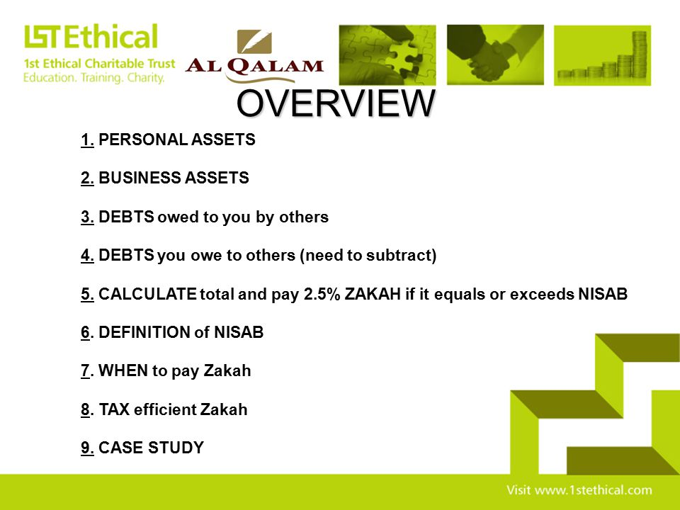 OVERVIEW 1. PERSONAL ASSETS 2. BUSINESS ASSETS