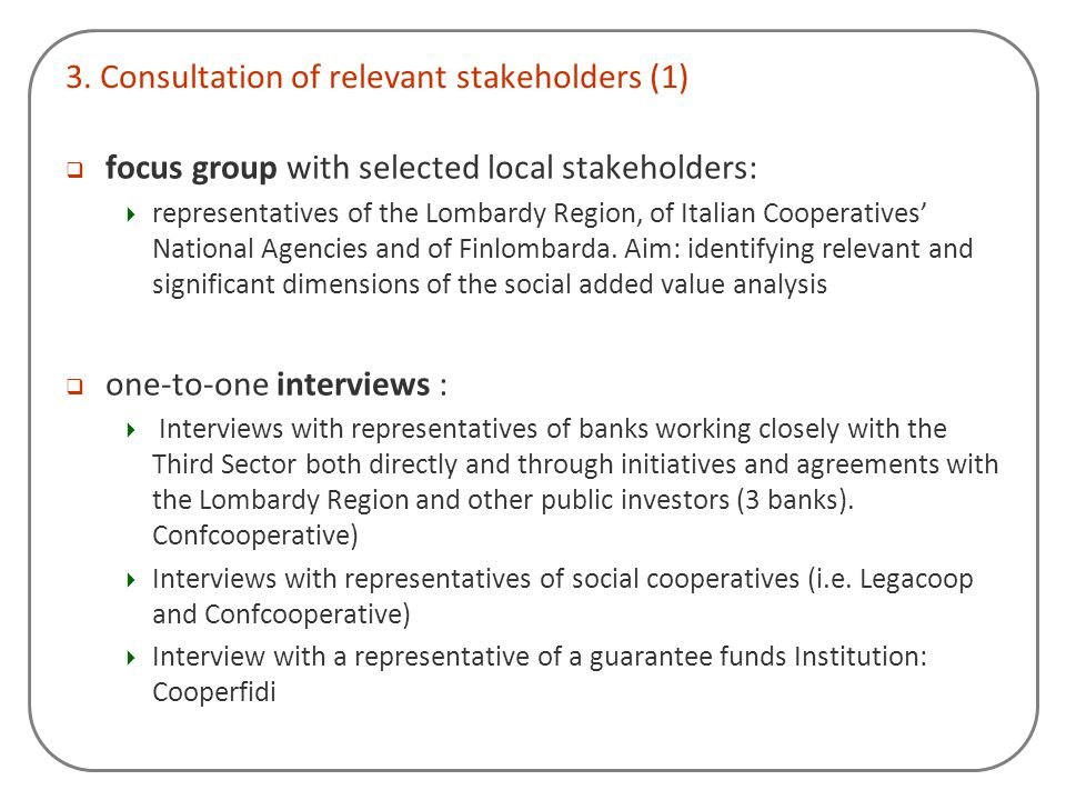 3. Consultation of relevant stakeholders (1)
