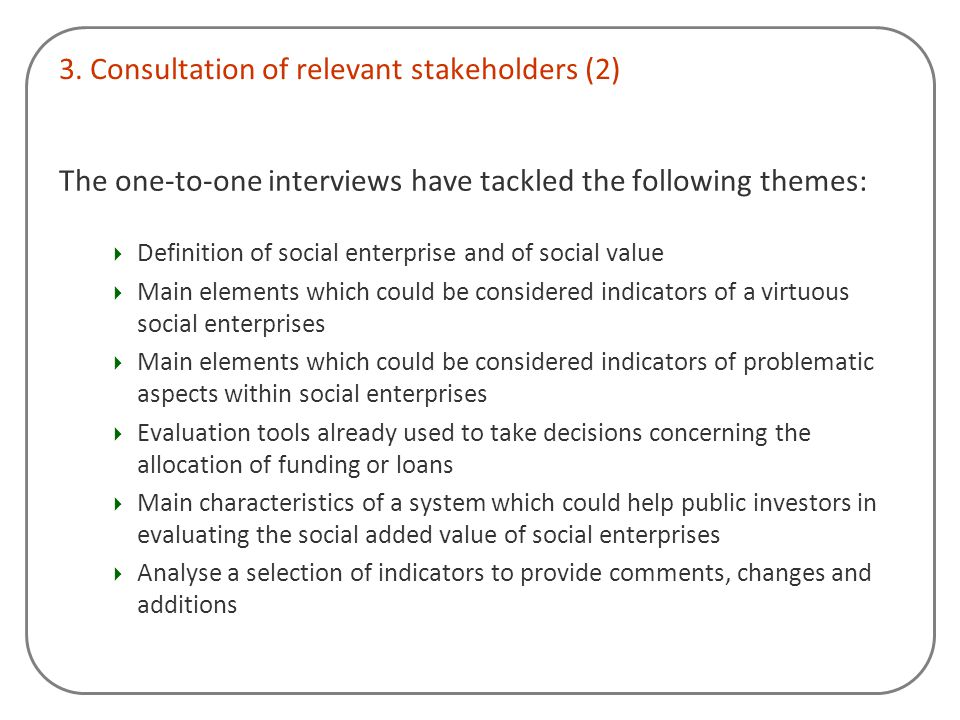 3. Consultation of relevant stakeholders (2)