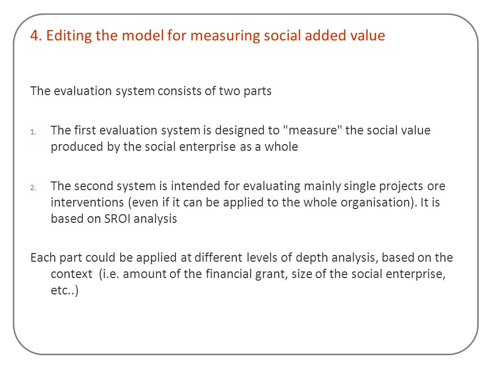 4. Editing the model for measuring social added value