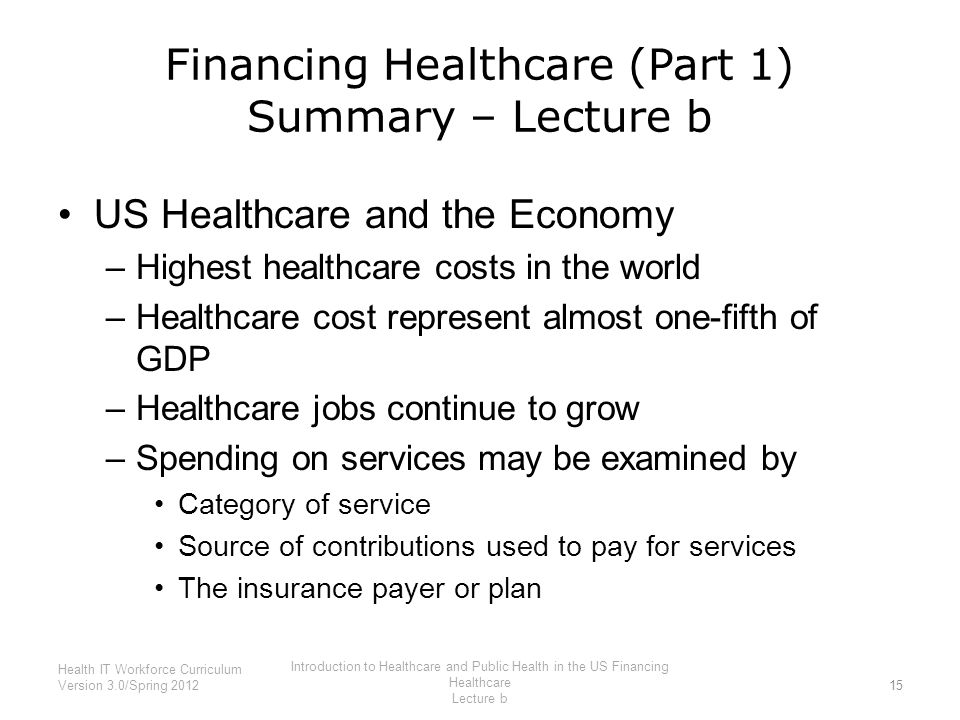 Financing Healthcare (Part 1) Summary – Lecture b