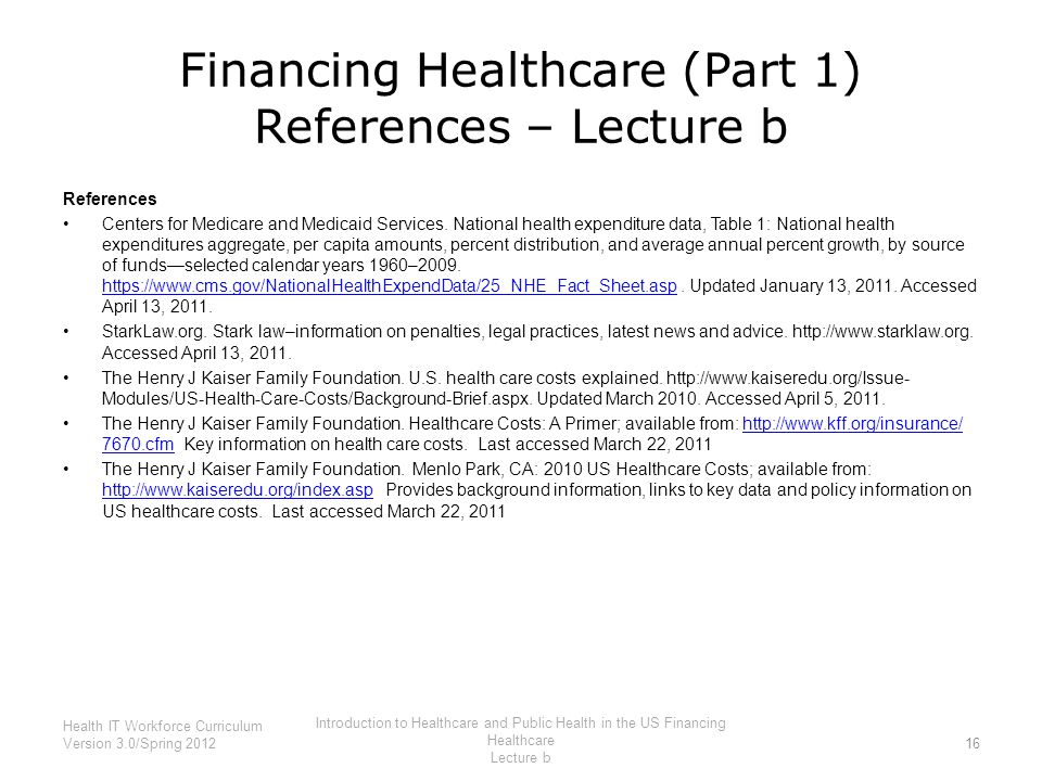 Financing Healthcare (Part 1) References – Lecture b
