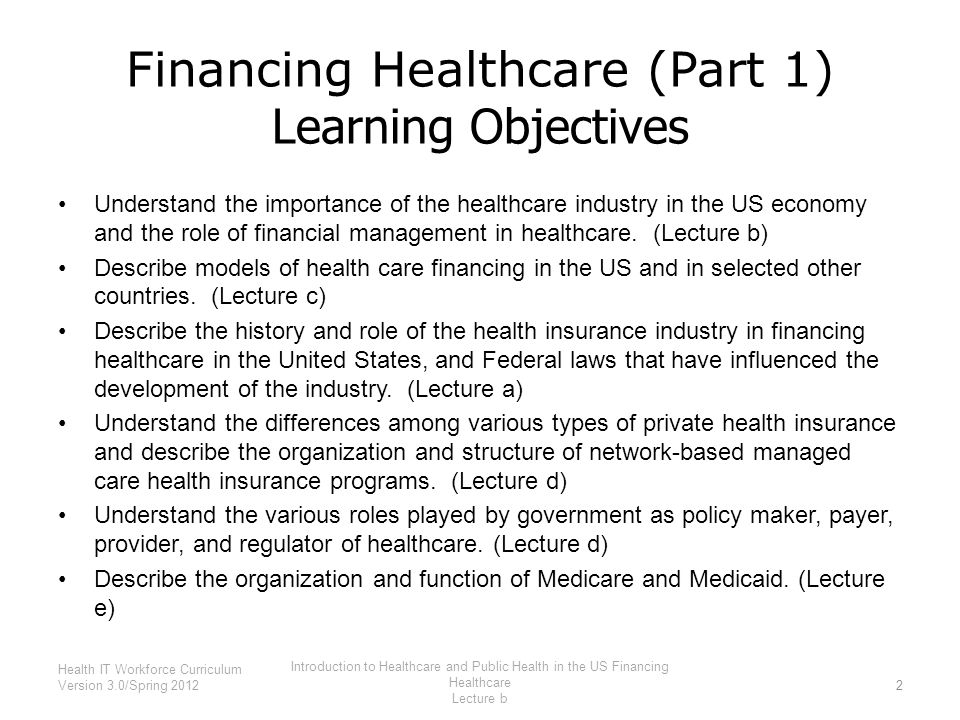 Financing Healthcare (Part 1) Learning Objectives