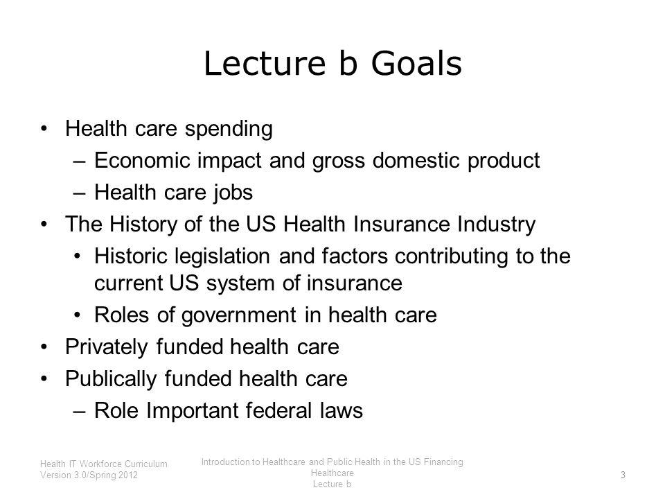 Lecture b Goals Health care spending