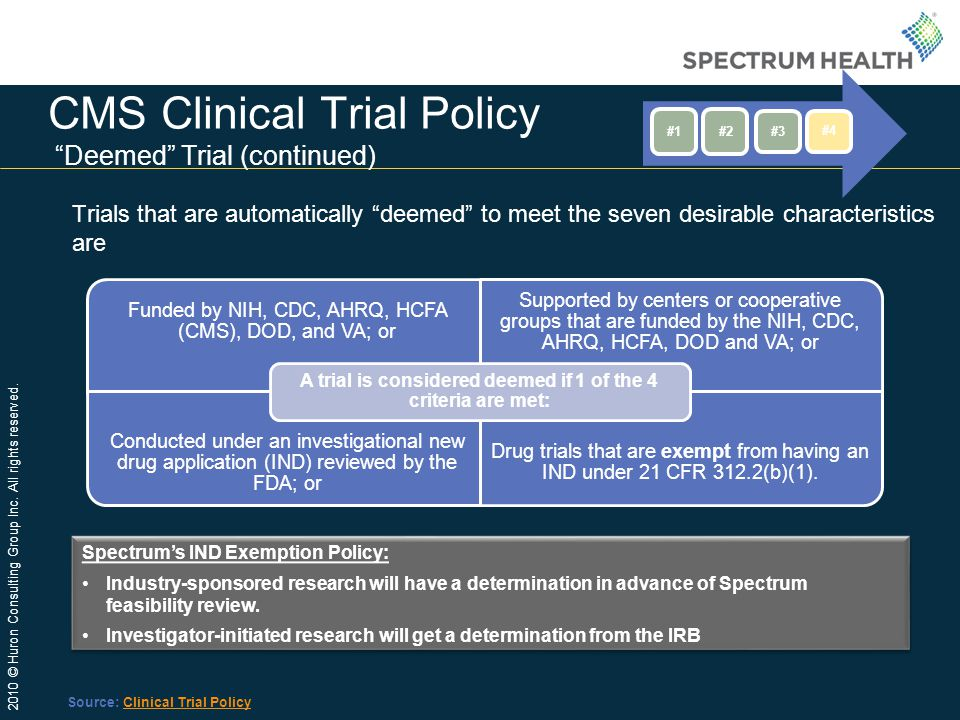 CMS Clinical Trial Policy Deemed Trial (continued)