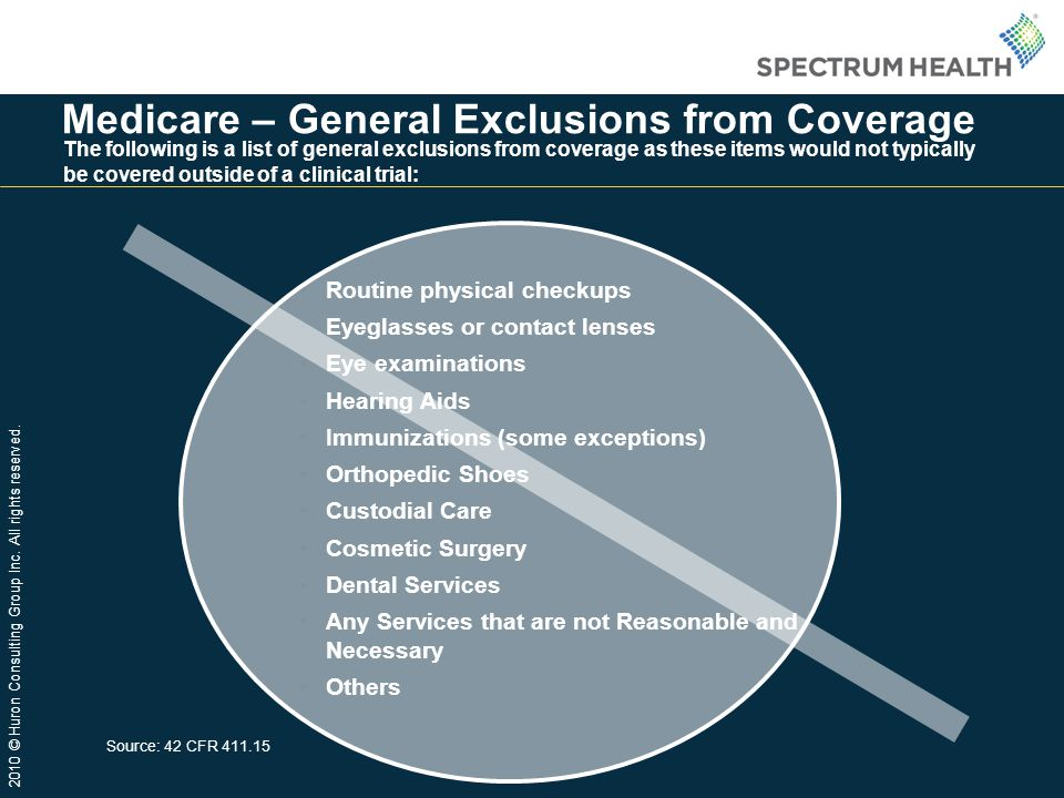 Medicare – General Exclusions from Coverage