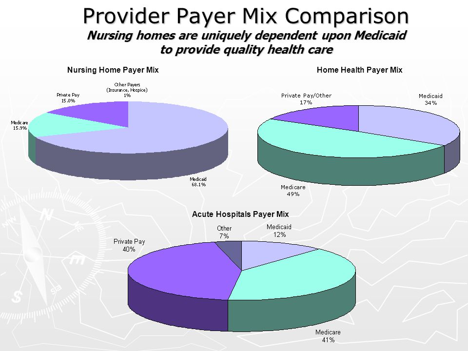 Provider Payer Mix Comparison Nursing homes are uniquely dependent upon Medicaid to provide quality health care