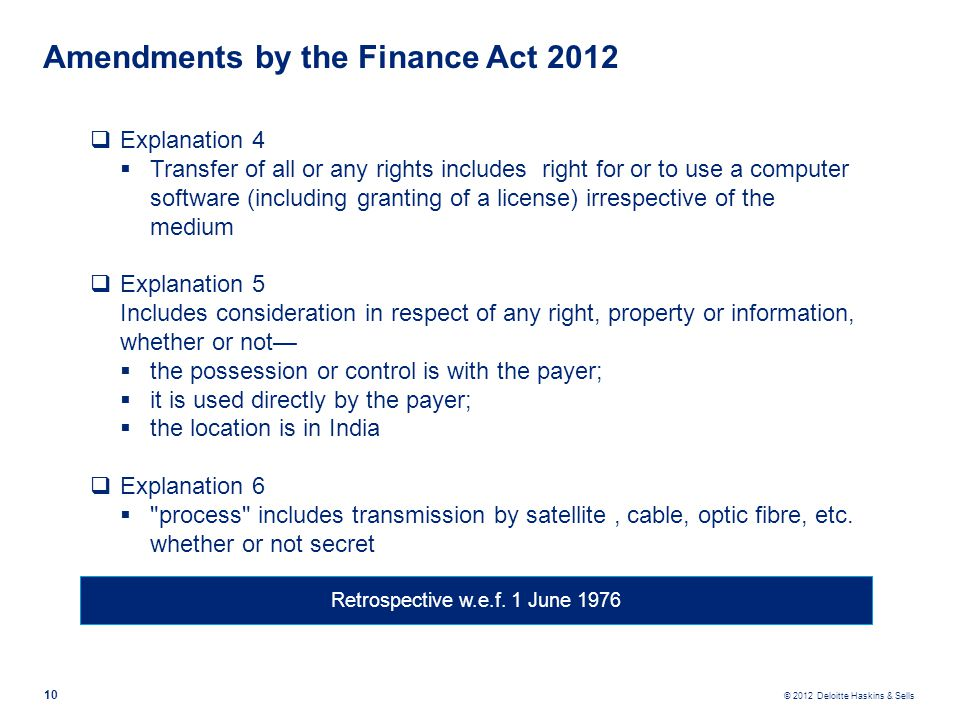 Amendments by the Finance Act 2012