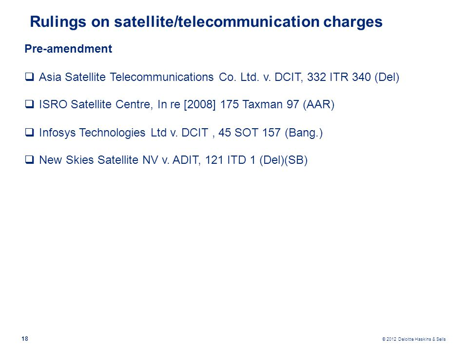 Rulings on satellite/telecommunication charges
