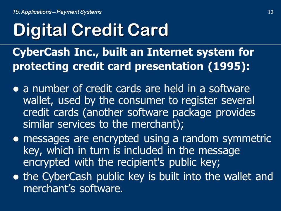 Digital Credit Card CyberCash Inc., built an Internet system for
