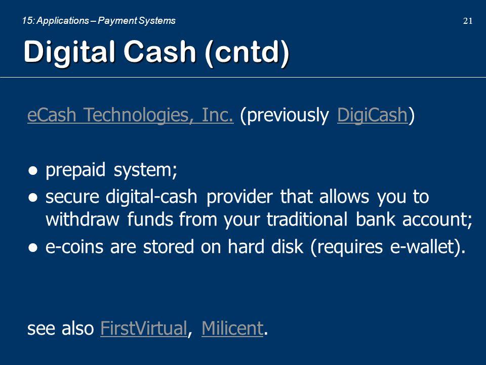 Digital Cash (cntd) eCash Technologies, Inc. (previously DigiCash)
