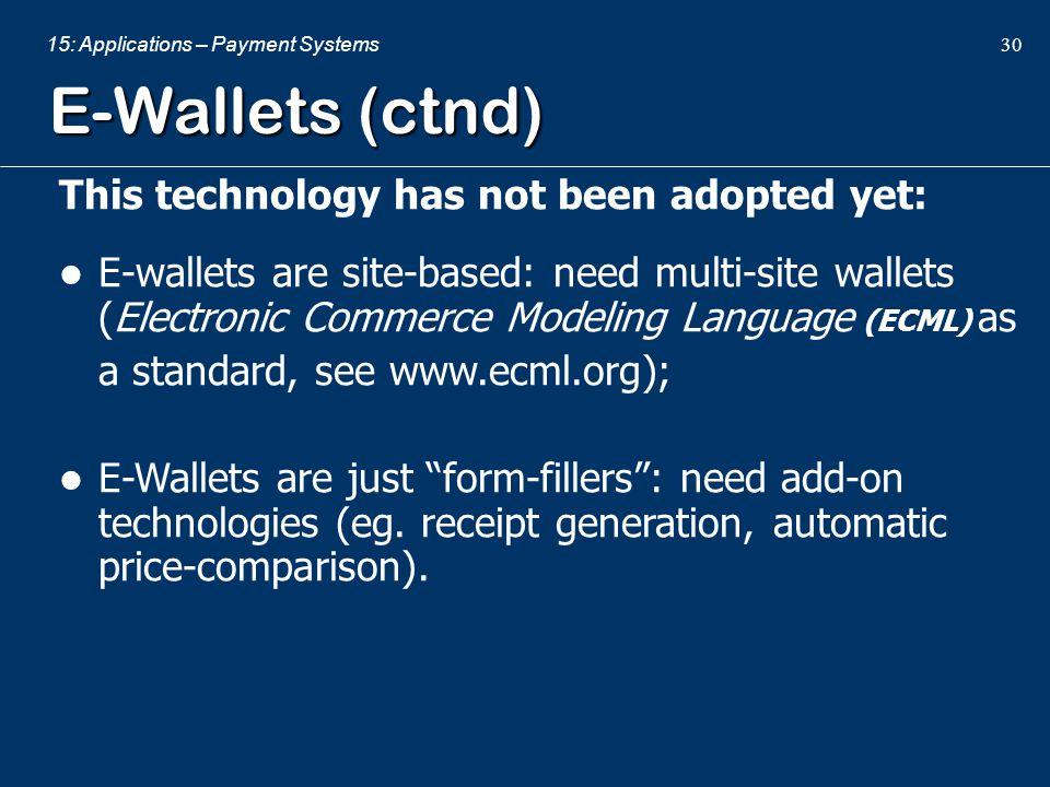 E-Wallets (ctnd) This technology has not been adopted yet: