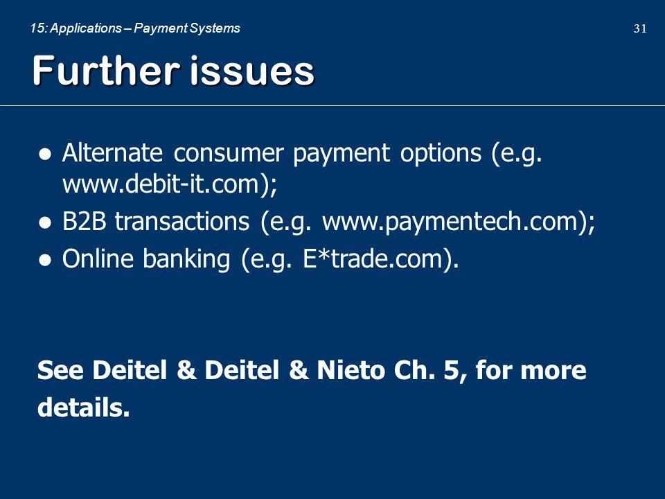 Further issues Alternate consumer payment options (e.g. www.debit-it.com); B2B transactions (e.g. www.paymentech.com);