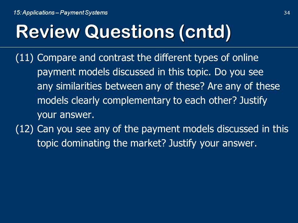 Review Questions (cntd)