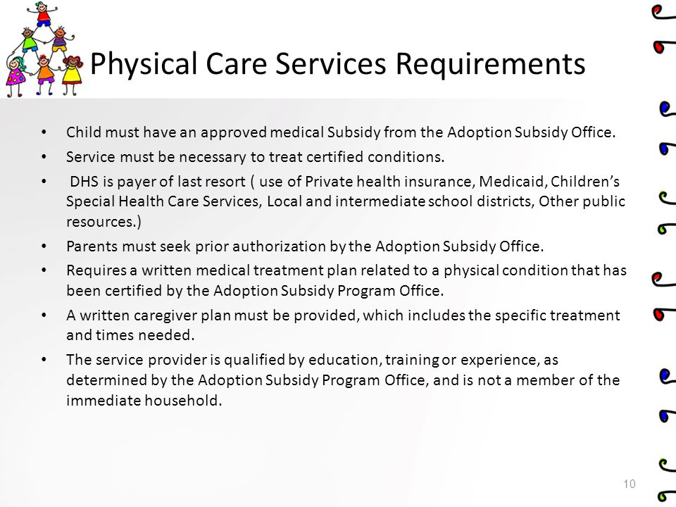 Physical Care Services Requirements