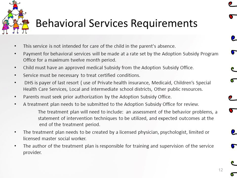 Behavioral Services Requirements