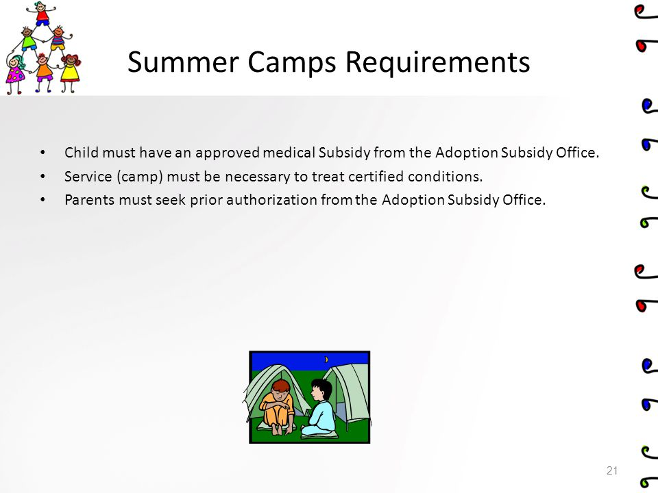 Summer Camps Requirements